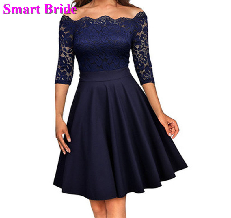 Short Cocktail Dresses Navy Blue Burgundy Satin Lace Formal Party Skirts Cocktail Gowns Vintage Prom Dress Custom Made CD05