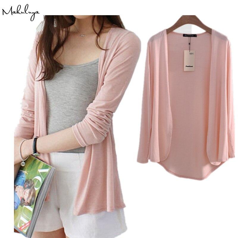 Makuluya mujeres dulce Color sólido Modal mujer prendas de vestir exteriores suéteres cortos señora Casual manga larga Cardigan abrigos de talla grande L6