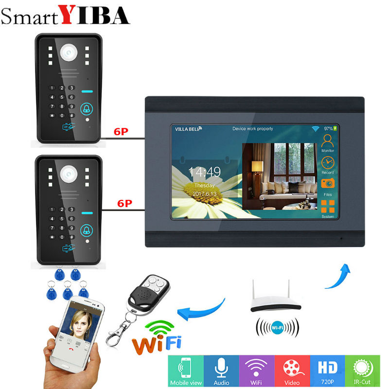 YobangSecurity Video Intercom 7 Inch Monitor Wifi Wireless Video Door Phone Doorbell Camera Intercom System Password RFID Card yobangsecurity rfid password 7 inch monitor wifi wireless video door phone doorbell video camera intercom system kit app control