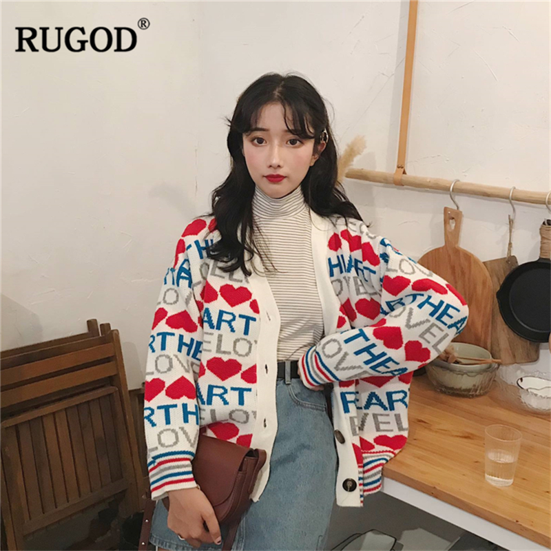 RUGOD Fashion Women Cardigans Casual Long Sleeve Sweater Women Letter Knitted Women Clothes Warm Winter Wear pull femme hiver