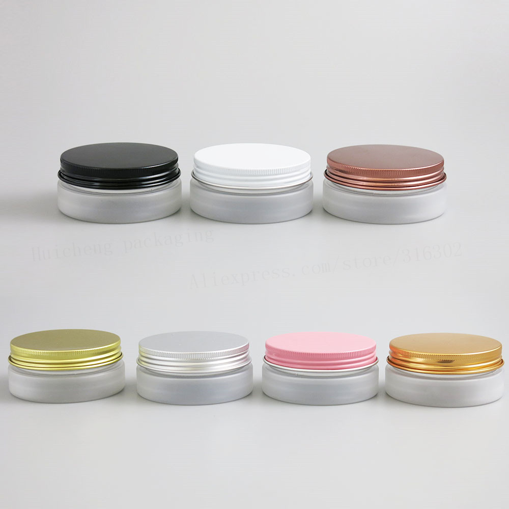 24 X 50g Travel Empty Frost Pet  Cream Jar Pot With Metal Lids With PE Pad 5/3oz Cosmetic Container Thread Size 67mm