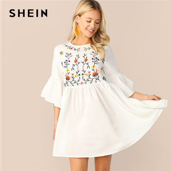 SHEIN Embroidered Floral Flounce Sleeve Smock Dress Boho A Line Women Flared Cute Dresses White High Waist Summer - discount item  46% OFF Dresses