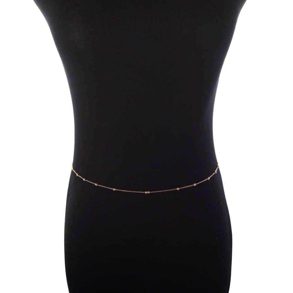 Silver Gold Sequins Belly เอว Chain สำหรับผู้หญิงเซ็กซี่ Bikini Beach Body Chain Vintage ลูกปัด Charm สร้อยข้อมือเครื่องประดับ
