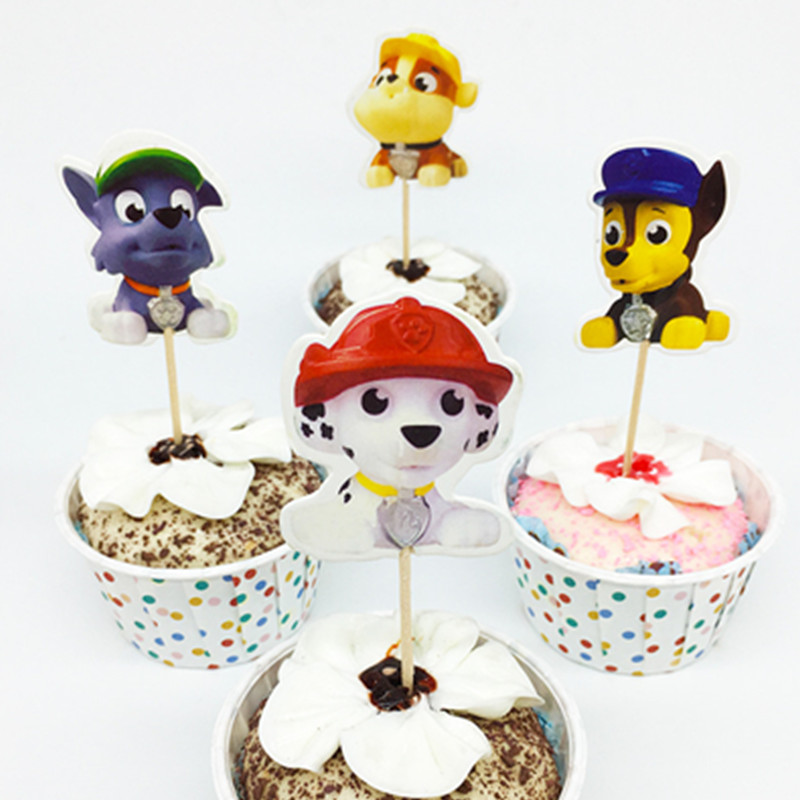 24pcs Dog Shaped Cupcake Topper Picks Kid Baby Birthday Party Decor Cake Decorations Baby Shower Food Picks Cake Topper Supplies