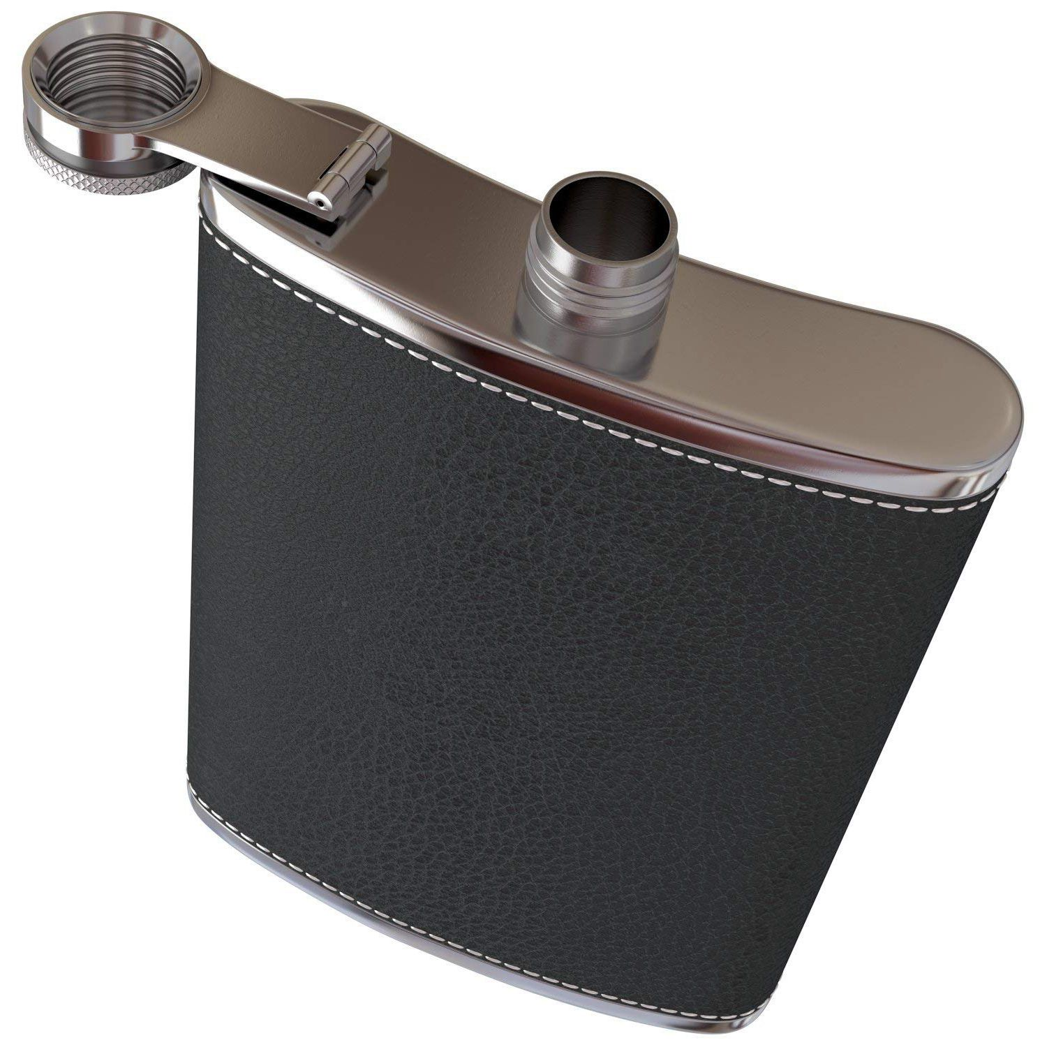 Pocket Hip Flask 8 Oz with Funnel Stainless Steel with Black Leather Wrapped Cover and Leak Proof Fits any Suit for Discrete in Hip Flasks from Home Garden