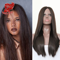 Fashion Silky Straight Synthetic Lace Front Wig Brown Color Fiber Hair Wigs Cheap Wigs For Black Women In Stock