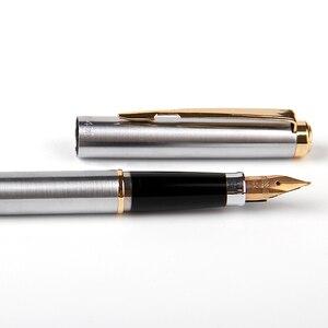 Image 4 - יוקרה 14k זהב מזרקת עט Wingsung 90s מתכת F ציפורן 0.5mm מתנה עטים עם אריזת מתנה עסקי משרד כתיבת מכתבים