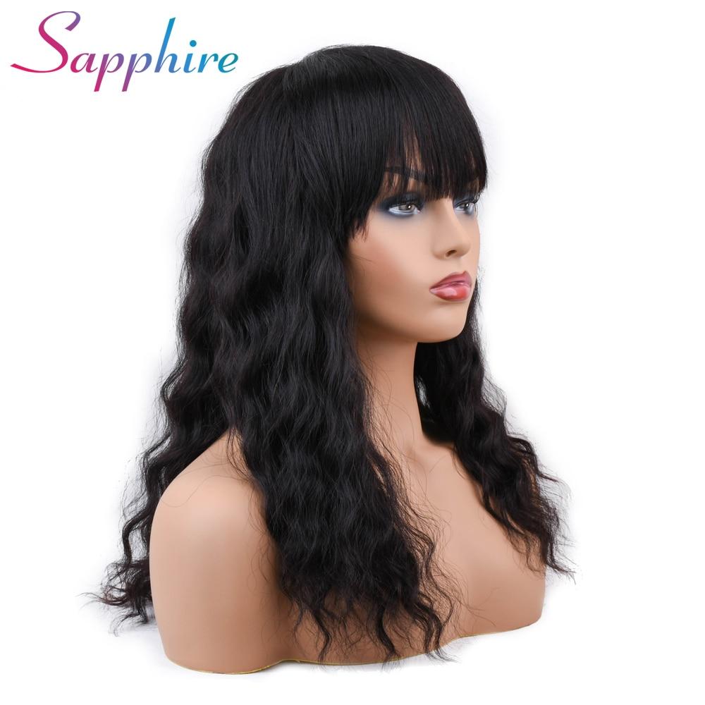 Sapphire Brazilian Ocean Wave Human Hair Wigs With Adjustable Bangs Machine Human Hair Wigs non remy