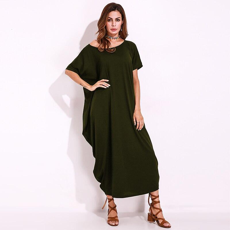FLORHO Oversized Maxi Dress Women Summer Autumn Short Sleeve One Off Shoulder Long Shift Dress Baggy Robe Femme Plus Size 5XL