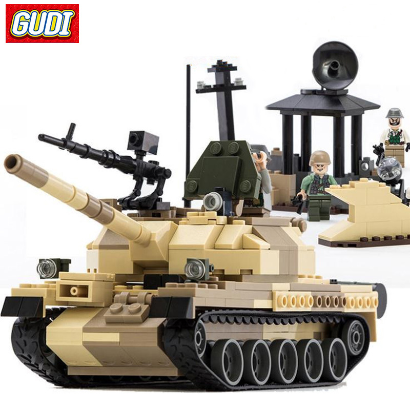 GUDI Building Blocks T-62 Tank Model Compatible LegoINGlys Block WW2 Russia Blocks Assembly Educational Toys For Children Gift gudi blocks city air plane building blocks international airport compatible legoinglys block educational toys for children gift