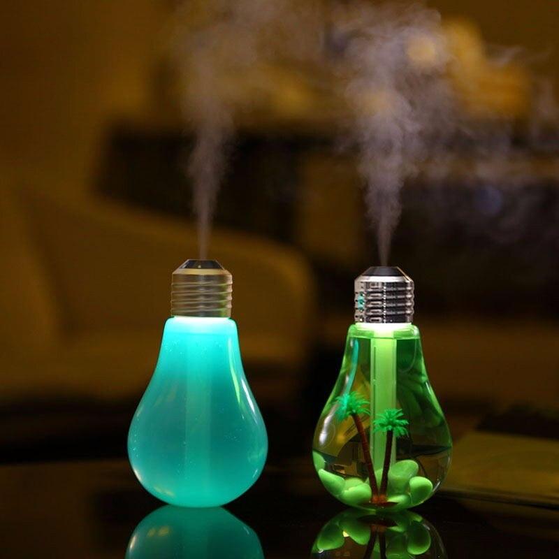 USB Humidificateur À Ultrasons Home Office Mini Aroma Diffuseur LED Nuit Lumière Aromathérapie Mist Maker Creative Bouteille ampoule