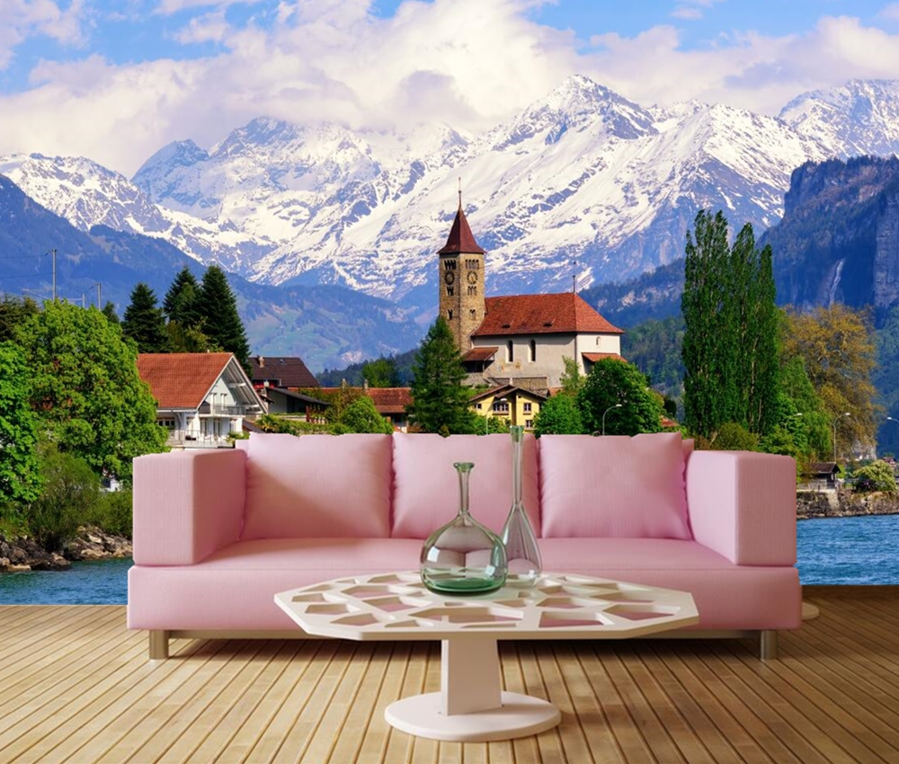 Good Wallpaper Mountain Wall - Switzerland-Lake-Houses-Mountains-city-Building-wallpaper-living-room-TV-background-sofa-wall-bedroom-restaurant-bar  Gallery_968286.jpg
