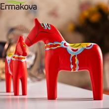 ERMAKOVA 2 Pcs/Set Wooden Dala Horse StatueTraditional Animal Sculpture Swedish Dalecarlian Horse Figurine Gift Souvenir Decor