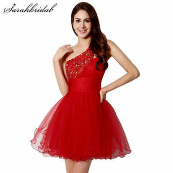Sexy Cheap Short Prom Dresses Red One Shoulder Tulle A-Line Sequins Beaded Back Lace Homecoming Party Mini Sleeveless Gown SD230