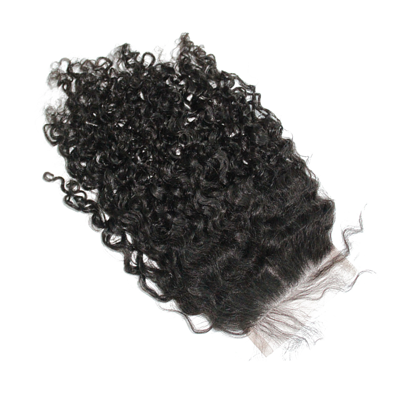 3B 3C Kinky Curly Silk Base Lace Closure Closure Pre Plucked Human Remy Hair With Baby Hair Bleached Knots Brazilian Prosa