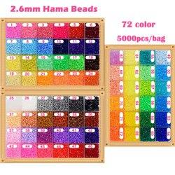 5000 pièces/sac 2.6mm Hama perles 72 couleurs pour choisir enfants éducation bricolage jouets 100% qualité garantie nouveau Perler perles en gros