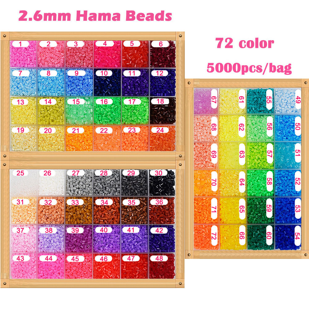 5000pcs/bag 2.6mm Hama Beads 72 Colors For Choose Kids Education Diy Toys 100% Quality Guarantee New Perler Beads Wholesale