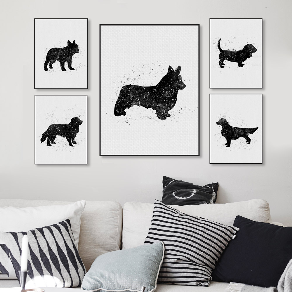 Abstract Black Animal Friend Pet Dog Greyhound Canvas Art Print Poster Wall Picture Painting No Frame Vintage Living Room Decor
