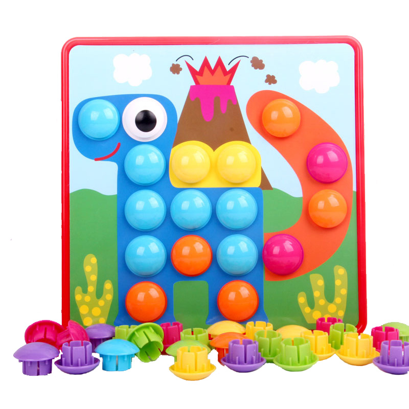 Montessori Educational Baby Toys Button Mushroom Nail Puzzle Board Art Creative Game Kids Toys For Girls Boys Brinquedos