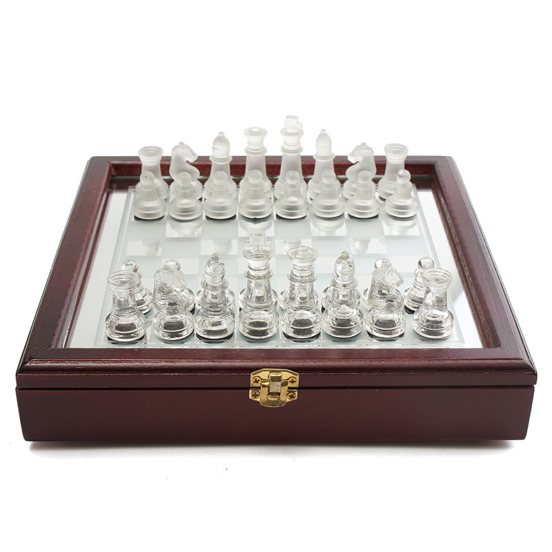 32Pcs 250x250mm International glass Chess Pieces Folding Glass Chess Checkers Board Portable Set Decor Games Box magnetic international chess pieces set folding table games board 36x31cm king 7 2cm funny family game 2017 ajedrez size xl