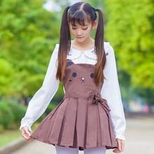 Мягкие Юбки для сестер милые розовые шорты с кроликом Мишка Коричневый Милый джемпер юбка лолита милый японский подтяжки ремень вышивка JSK