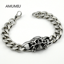 AMUMIU Cool 316L Stainless Steel MENS Skull Bracelet Chain For PUNK 2017 Biker Jewelry, Wholesale Free shipping HZB033