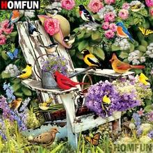 HOMFUN Full Square/Round Drill 5D DIY Diamond Painting Bird flower 3D Embroidery Cross Stitch Home Decor A21348