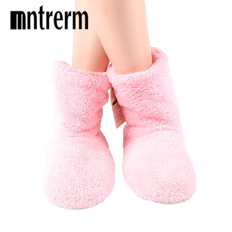 Mntrerm Winter Big Size Warm Soft Bottom Solid Color Flannel Indoor Floor Plush Home Shoes For WomenBedroom House Furry Slippers
