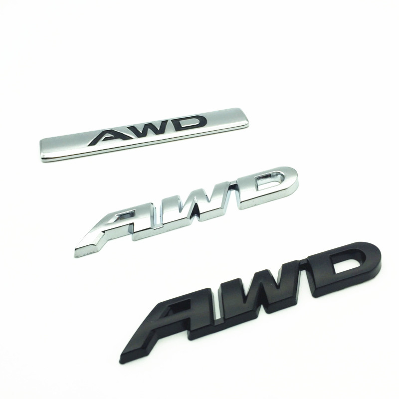 1pcs 3D Metal Logo Car Sticker <font><b>Emblem</b></font> Auto Badge Decal For AWD <font><b>BMW</b></font> Audi Ford Nissan Toyota 4X4 4WD All Wheel <font><b>Drive</b></font> SUV image