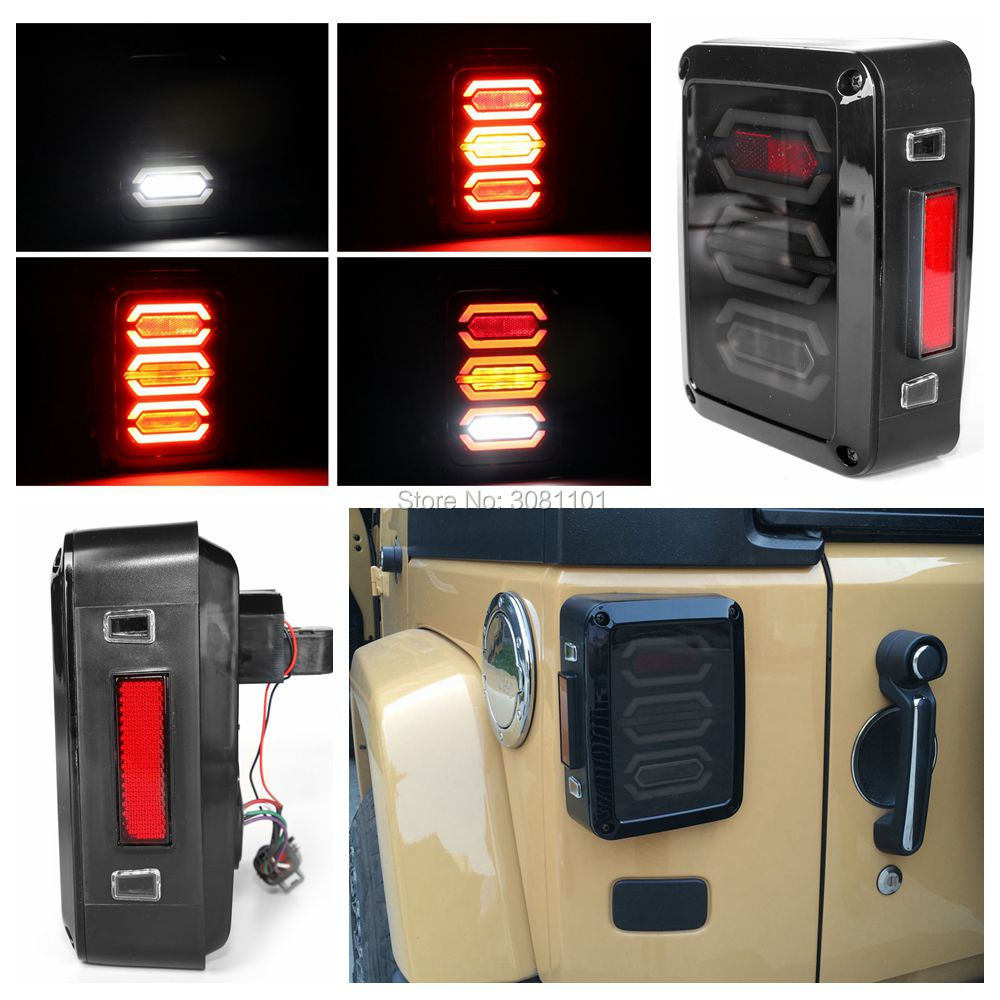 Smoke Len Diamond Tail Light Assembly Reverser Brake Back up Light with Turn Signal Function for Jeep Wrangler JK Rubicon Sahara for jeep wrangler jk 2007 2016 tail light diamond smoke led tail light