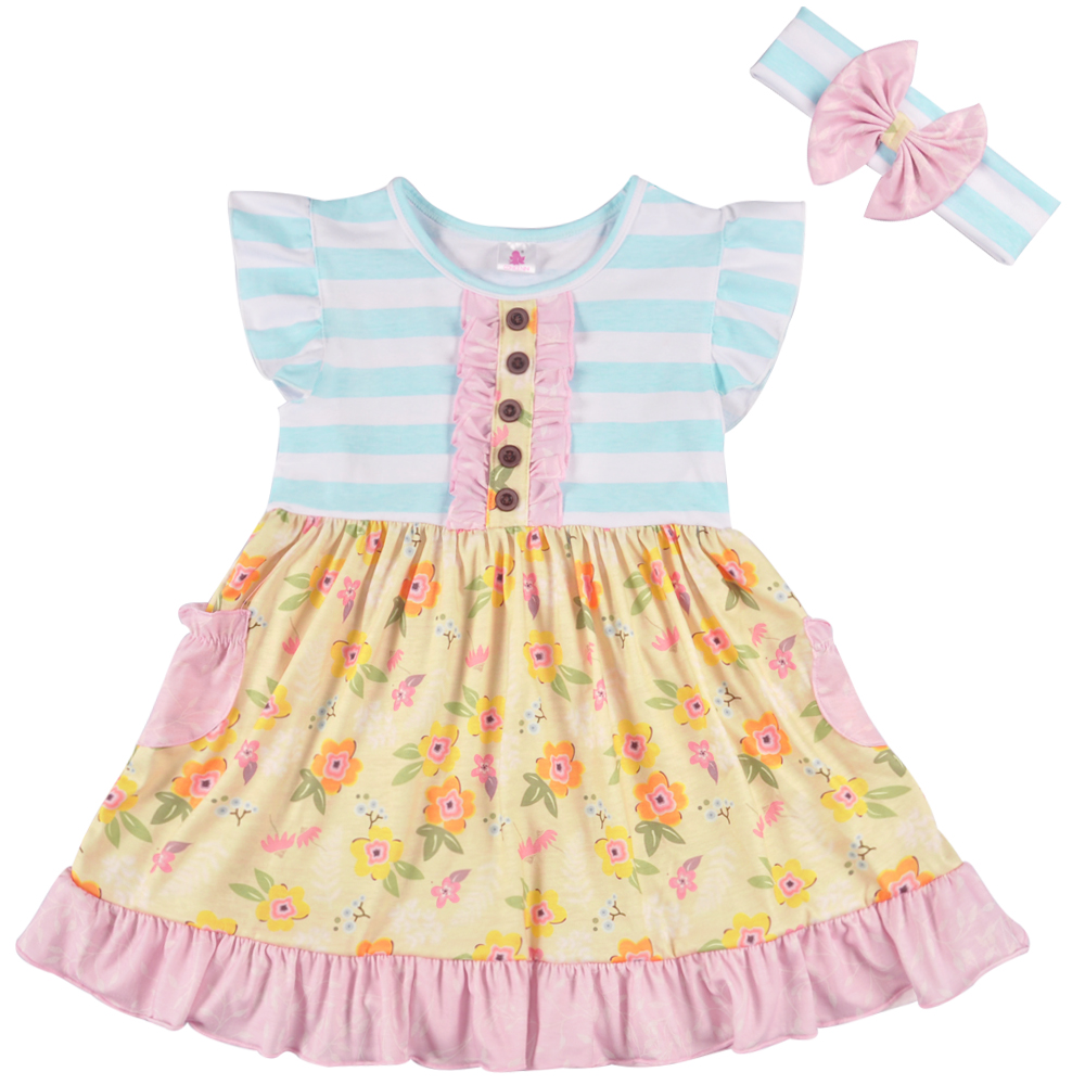 Hot Sale New Design Baby Girls Lovely Dress Flutter Sleeve Kids Boutique Remake Summer Children Dress With Headband LYQ802-061