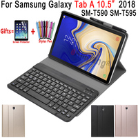 Removable Bluetooth Keyboard Leather Case for Samsung Galaxy Tab A A2 10.5 2018 T590 T595 SM T590 Cover Funda with Pencil Holder