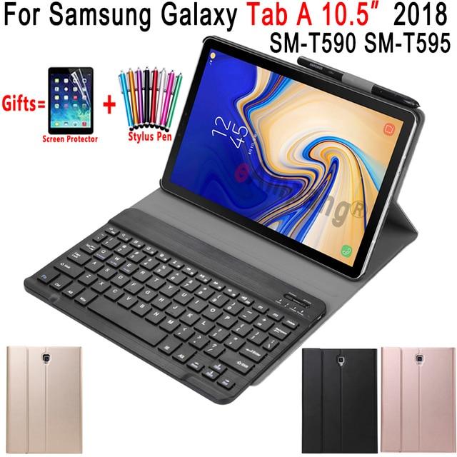 Rusça İspanyolca İngilizce samsung klavye Galaxy Tab A 10.5 2018 Klavye Durumda T590 T595 SM-T590 SM-T595 deri kılıf Funda