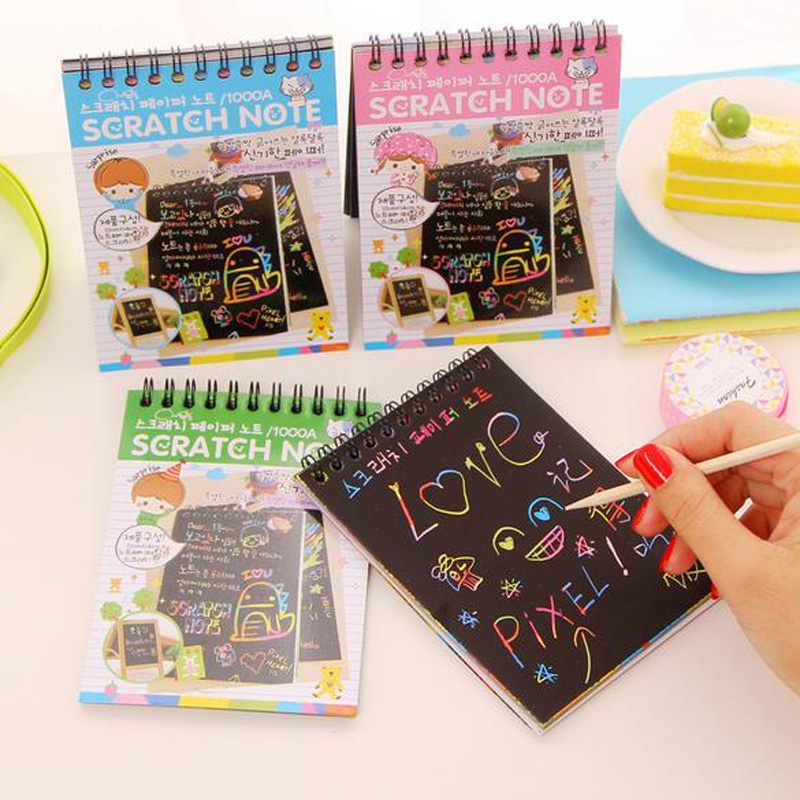 DIY Cute Kawaii Coil Graffiti Notebook Black Page Magic Drawing Book Painting Notepad for Kids Stationery Gift 4 colors