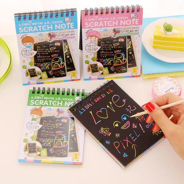 1 56 Diy Mignon Kawaii Bobine Graffiti Portable Noir Page Magique Dessin Livre Peinture Bloc Notes Pour Les Enfants Papeterie Cadeau 4 Couleurs
