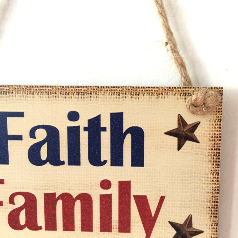 Image 4 - Rustic Wooden Hanging Plaque Sign Board Faith Family Friends Freedom Room Wall Door Home Decoration Gift-in Plaques & Signs from Home & Garden