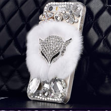 Ayeena Bling Diamond Rex Fuzzy Hair Case Capas Para Coque For Iphone 7plus For Iphone 6 6s plus 5 Fluffy Fur Diamond Capa Fundas(China)
