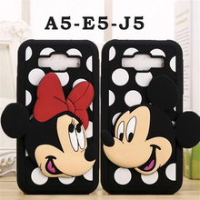 Lovely 3D Mickey Minnie Mouse Lovers Phone Case for Samsung Galaxy A5 E5 J5 Soft Silicon Wave Point Back Cover Coque Fundas Capa