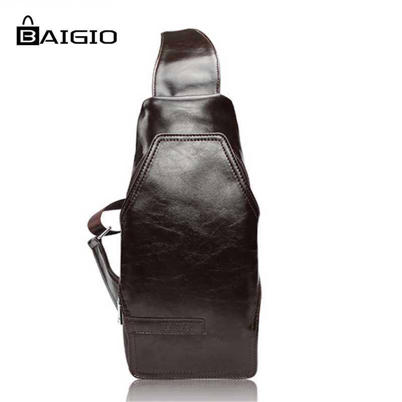 ФОТО Baigio Men 2017 Fashion Chest Pack 3 Colors Hobo Bag PU Leather Designer Crossbody Bags  Travel High Quality Waist Packs Men Bag