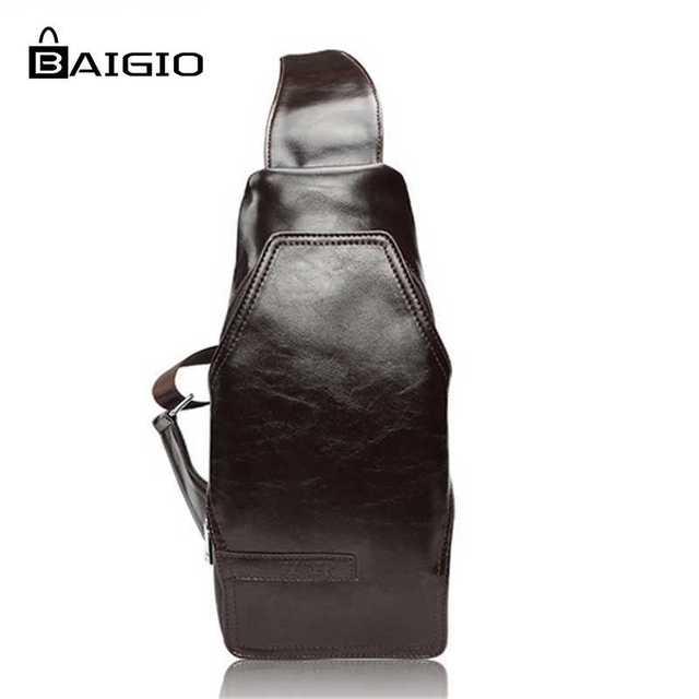 dcab130dc332 Baigio Men 2017 Fashion Chest Pack 3 Colors Hobo Bag PU Leather Designer  Crossbody Bags Travel