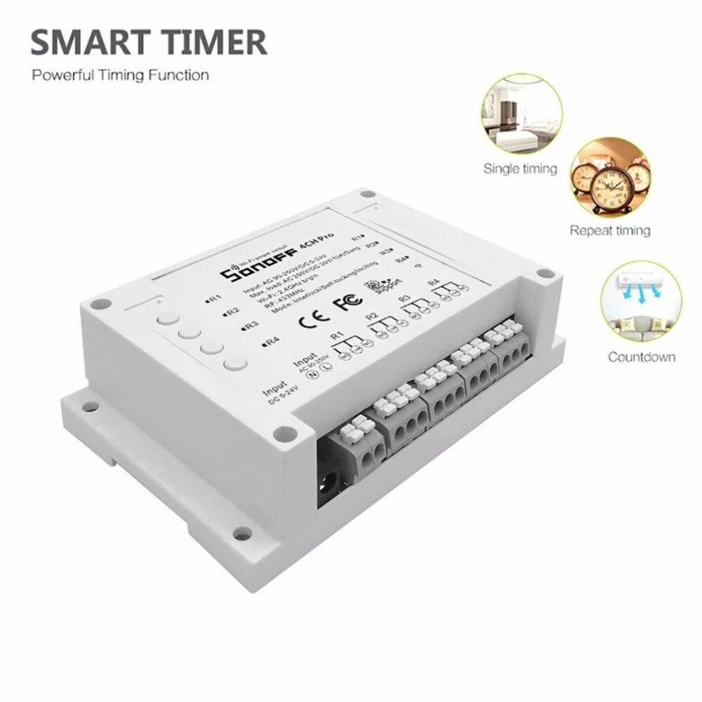 Sonoff 4CH Pro 4 Gang WiFI Sans Fil Commutateur Intelligent 433 mhz Télécommande Rail DIN Monté Commutateur Avec Fonction de Synchronisation