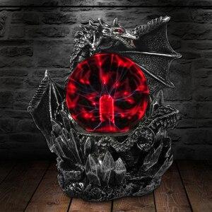 Image 1 - القرون الوسطى الظلام التنين Guardian الجدة لمبة مكتب اللمس استجابة الكهربائية ليلة مصباح كرة بلاوما تمثال ضوء سحري
