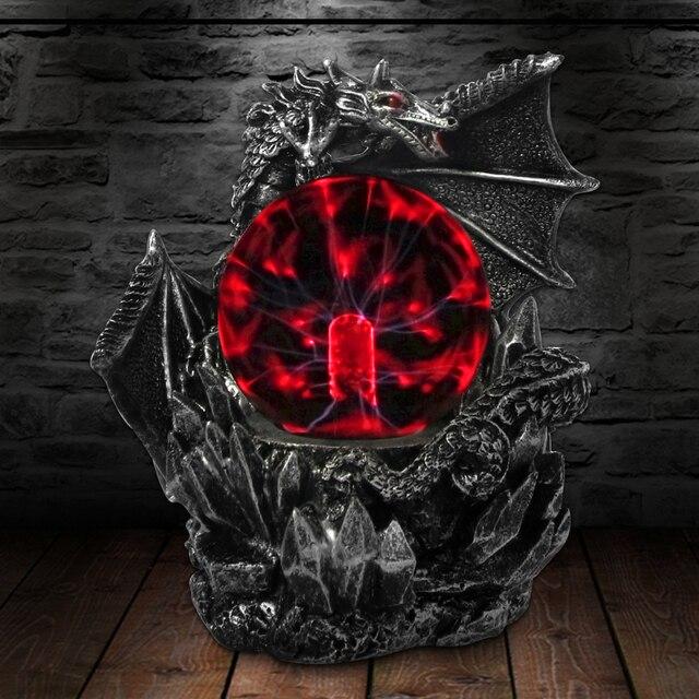 القرون الوسطى الظلام التنين Guardian الجدة لمبة مكتب اللمس استجابة الكهربائية ليلة مصباح كرة بلاوما تمثال ضوء سحري