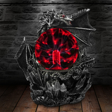 Lámpara de escritorio Medieval de Dragon Guardian, lámpara de noche eléctrica sensible al tacto, estatua de bola de Plasma, luz mágica