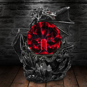 Image 1 - Medieval Dark Dragon Guardian Novelty Desk Lamp Touch Responsive Electric Night Lamp Plasma Ball Statue Magical Light