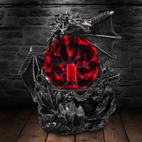 Medieval Dark Dragon Guardian Novelty Desk Lamp Touch Responsive Electric Night Lamp Plasma Ball Statue Magical Light