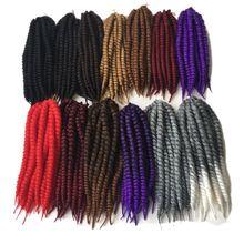 """Роскошные для плетения 1"""" 12 прядей/упаковка 13 цветов вязанные косички Гавана Mambo Твист Синтетические косички для наращивания волос"""