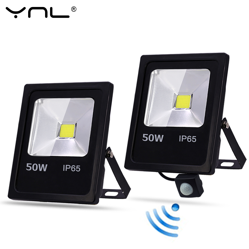 YNL Motion Sensor LED Flood Light 10W 30W 50W 220V Floodlights Searching Lamp IP65
