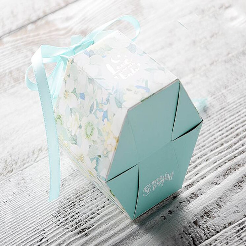 50pcs new forest European wedding candy box watercolor small fresh candy box blue wedding candy bag candy packaging paper box in Gift Bags Wrapping Supplies from Home Garden