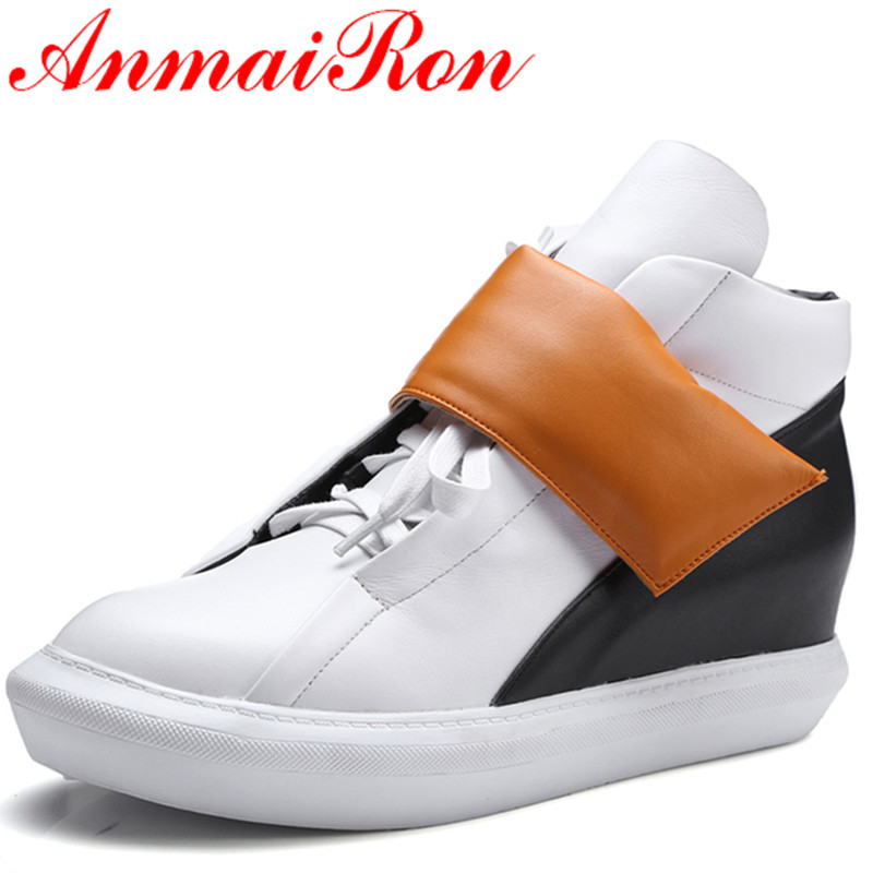 ФОТО ANMAIRON White Shoes Woman Low Heels Round Toe Hook Ankle Boots for Women Platform Shoes Size 34-39 Spring &Autumn Casual Shoes